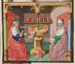 The Roman scholar Marcus Terentius Varro in conversation. Medieval Illustration