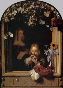 Painting by Frans von Mieris. Boy who blows rainbow bubbles with a straw at the window