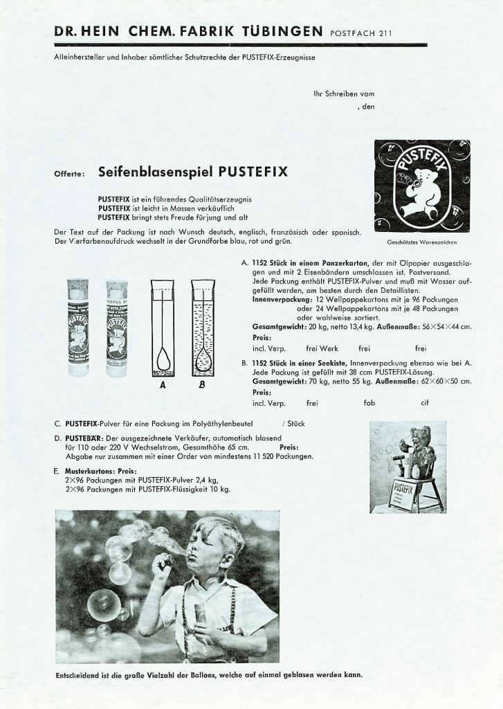 Information sheet for PUSTEFIX soap bubbles