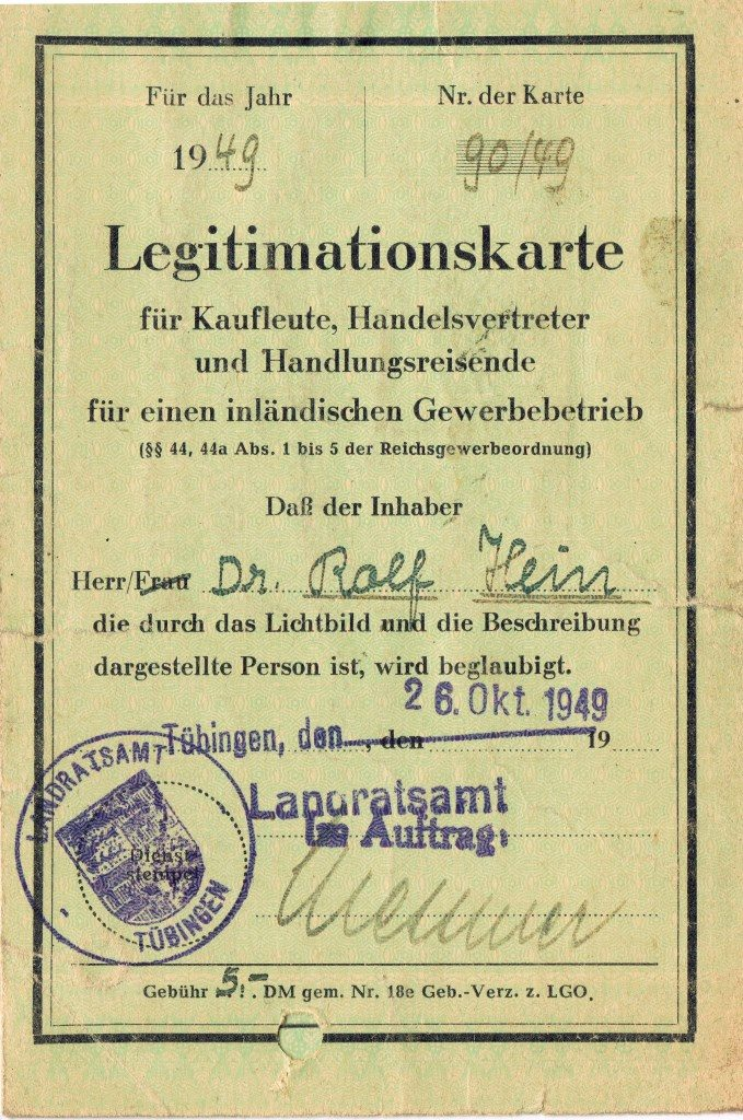 Legitimation card for merchants, sales representatives and traveller, issued on Dr. Rolf Hein